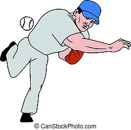 Baseball Player Pitcher Throw Ball Cartoon