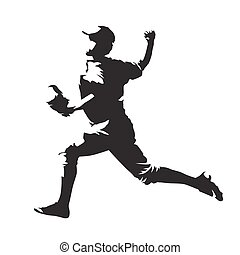 Baseball player, pitcher throwing ball, abstract vector silhouette