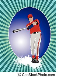 Baseball player poster. Vector il