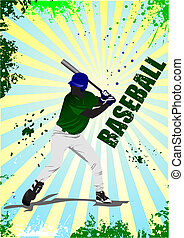 Baseball player poster. Vector ill
