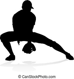 Baseball Player Silhouette - Baseball player in sports pose...
