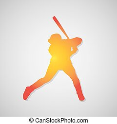 Baseball player silhouette icon with shadow in orange. Vector illustration