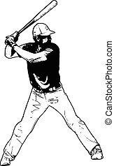 baseball player, sketch illustration