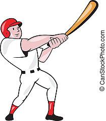 Baseball Player Swinging Bat Cartoon - Illustration of an...