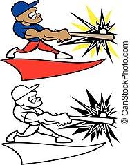 Baseball Player Swinging Bat Logo Vector Illustration