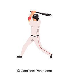 Baseball Player Swinging Bat, Male Athlete Character in Sports Uniform and Helmet, Active Sport Healthy Lifestyle Vector Illustration