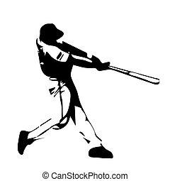 Baseball player swinging bat.