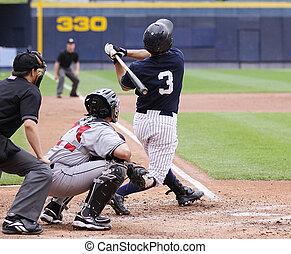 Baseball player swinging, right-handed