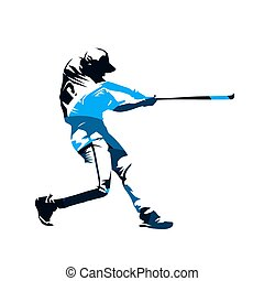 Baseball player swinging with bat, blue abstract isolated vector silhouette