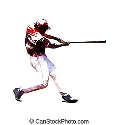 Baseball player swinging with bat, isoalted polygonal vector illustration