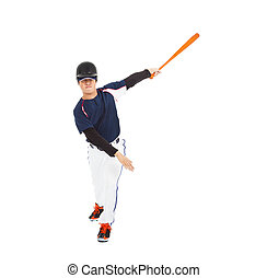 baseball player taking a swing