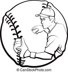 Baseball Player Throwing with Baseb
