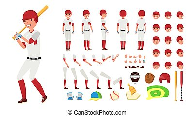 Baseball Player Vector. Animated Character Creation Set. American Base Ball Tools And Equipment. Full Length, Front, Side, Back View, Accessories, Poses, Face Emotions, Gestures. Isolated Flat Cartoon Illustration