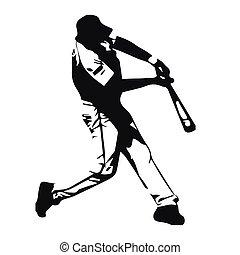 Baseball player vector illustration, batter swinging bat, ...