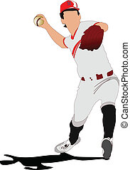 Baseball player. Vector illustrati
