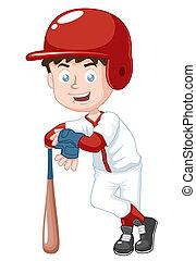 Baseball player - Vector illustration of boy baseball player
