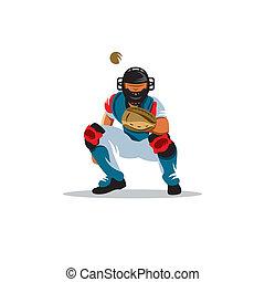 Baseball player vector sign - catcher on receiving the ball...