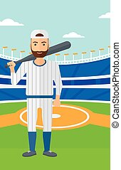 Baseball player with bat. - A man with a bat on the baseball...