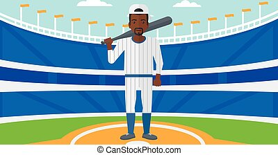 Baseball player with bat. - An african-american man with a...