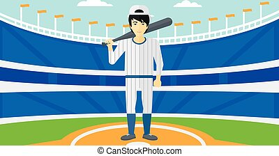 Baseball player with bat. - An asian man with a bat on the...