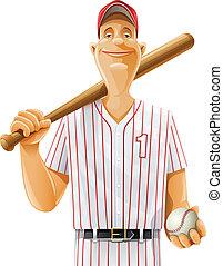 baseball player with bat and ball