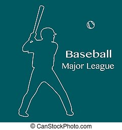 Baseball player with bat, ball Vector illustration