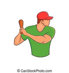 Baseball player with bat icon, cartoon style