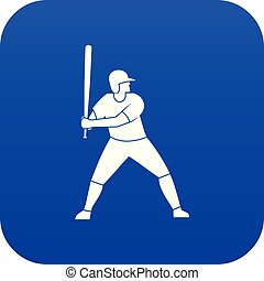 Baseball player with bat icon digital blue