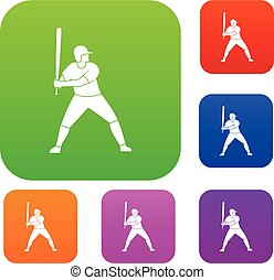 Baseball player with bat set color collection