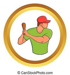 Baseball player with bat vector icon