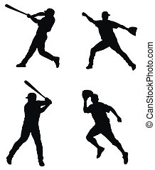 Abstract illustration of baseball players silhouettes