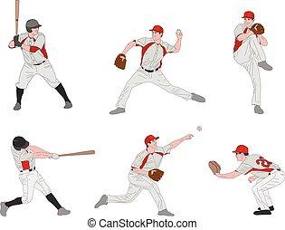 baseball players detailed color illustration