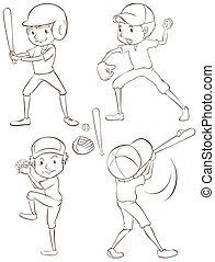 Baseball players - Illustration of baseball players