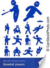 baseball players set icon