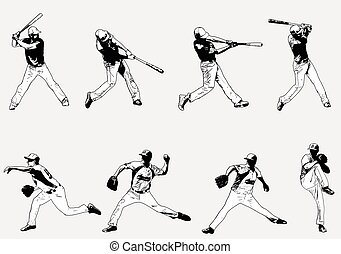 baseball players set - sketch illustration