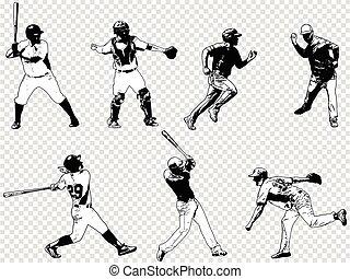 baseball players set - sketch illustration, vector