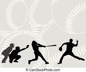 baseball players silhouettes on the abstract background