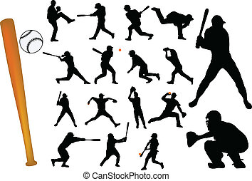 baseball players silhouettes - vector