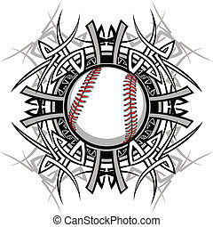 baseball, plemienny, graficzny, im, softball