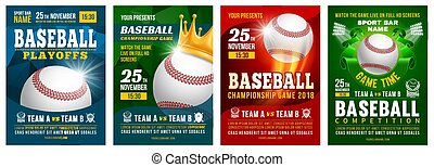 Baseball Poster Set - Set of baseball posters with baseball...