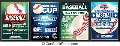 Baseball Poster Set Vector. Design For Sport Bar Promotion....