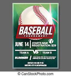 Baseball Poster Vector. Banner Advertising. Base, Ball....