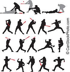 baseball, pozy, sylwetka, 21, szczegół