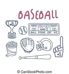 Baseball Related Object And Equipment Set With Text Hand...
