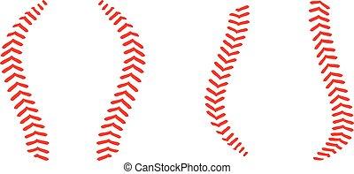 baseball, söm, spets