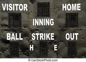 Baseball Scoreboard - A baseball scoreboard at a recreation...