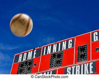 baseball, scoreboard, con, homerun