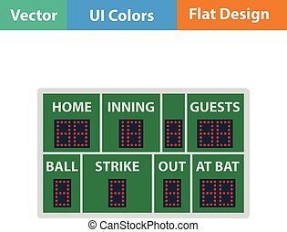 Baseball scoreboard icon. Flat design. Vector illustration.