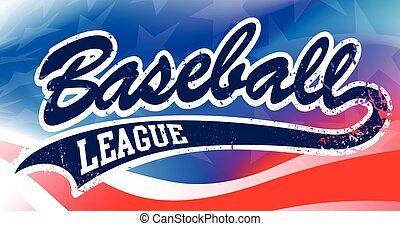 Baseball script on an American flag background
