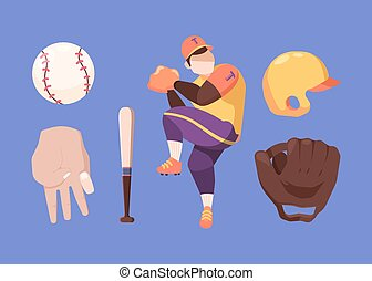 Baseball set. Character in special professional sports uniform prepares for throw protective yellow helmet baseball bat and ball brown pitcher gloves for catching. Vector competition.